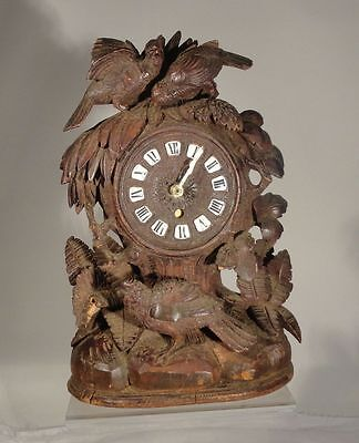 Antique Black Forest German Austrian Carved Hardwood Cuckoo Clock Grouse Quail