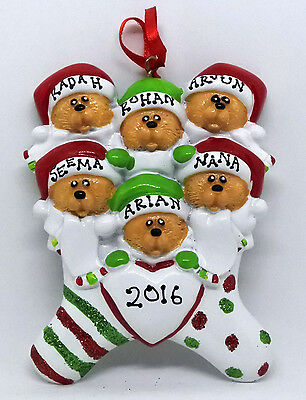 Personalised Christmas Tree Decorations - Bear Family