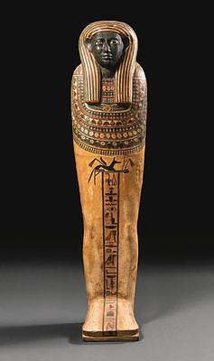 An Egyptian Polychrome Wood Sarcophagus Lid Of The Lady Tjenety, 25Th Dynasty...