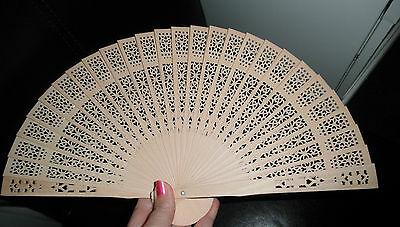 NEW Folding Bamboo Wooden Carved Hand Fan - Wedding Bridal Party!!!