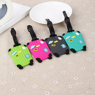 Cute Mini Silicone Suitcase Shaped Travel Luggage Tag Baggage Address Card Case