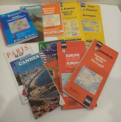 Lot of 10 Vintage Maps Guide France Cities & Providences, Europe, Spain/Portugal