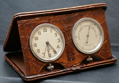 Stunning Crocodile Leather Cased Asprey Travel Clock & Barometer With Alarm Hand