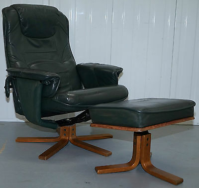 Anderson's Hand Made In Sweden Green Leather Recliner Armchair & Footstool