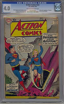 Action Comics #252 Cgc 4.0 Off-White Pages Origin And 1St Supergirl