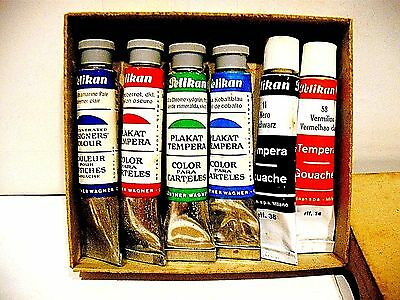 Vintage 6 X  Pelikan Gouaches Colour Made In Germany -