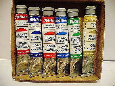 Vintage 6 X  Pelikan Gouaches Colour Made In Germany - 2