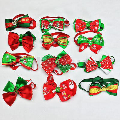 Christmas DOG BOW TIE Adjustable PET Collar Grooming Cat Puppy Necktie Bowtie