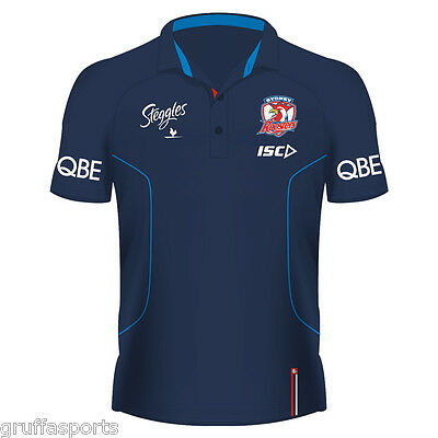 Sydney Roosters 2017 Media Polo Shirt Sizes Small - Large Electric Blue NRL ISC