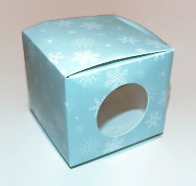Christmas Cupcake Boxes Xmas Cake Cup Window Box Gift Mince Pies GOLD SNOWFLAKE