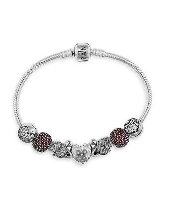 Pandora Majestic Swan Heart Embrace  Red Pave Lights Bracelet Gift Set 8.3¨ 21cm