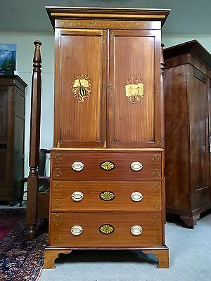 English Edwardian Paint-Decorated Mahogany Linen Press / Door Chest