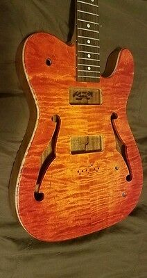 Tele, Bookmatch Flame Maple  top on ribbon Sapele