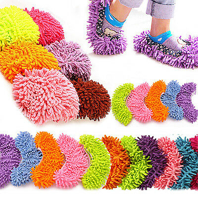 NS 2PCS Lazy Cleaner Dusting Cleaning Foot Shoe Mop Slipper Floor Polishing