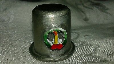 Vintage Pewter Holiday Thimble