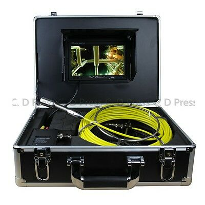 "7"" TFT Color Sewer Pipe Inspection Snake Video Camera System Endoscopes LED"