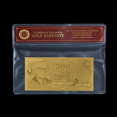 WR Finland Banknote 500 Markkaa  24k Gold Plated Note In COA Case For Collection
