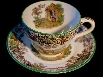Beautiful Copeland Spode Byron Green Trim Cup And Saucer