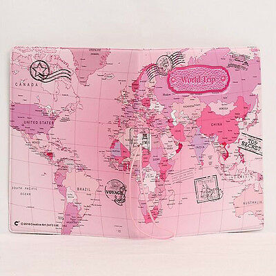 World Map Design Passport Holders with String 3 Colors Travel Passport Covers