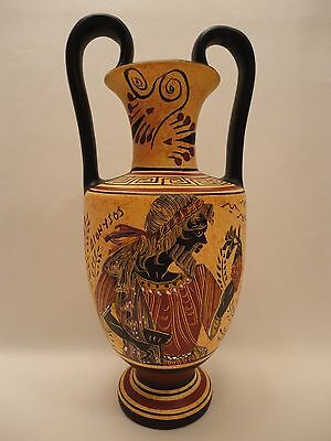 God Dionysos and Auletris Ancient Greek Art Pottery Vase Amphora Hand Painted