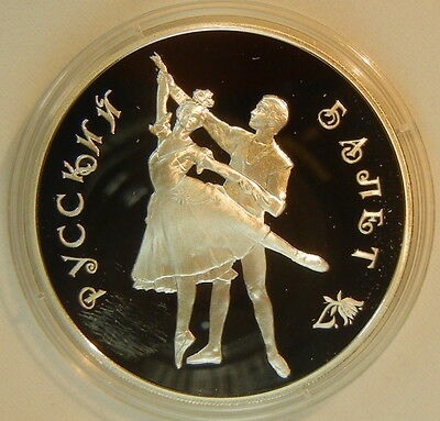 1993 RUSSIA 3 R ROUBLE SILVER  PROOF Ballet