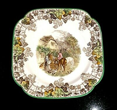 Beautiful Copeland Spode Byron Green Trim Square Luncheon  Plate