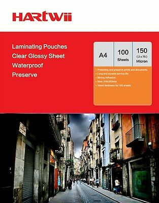 Hartwii 100 Sheets A4 Glossy  Laminate Pouches Film 150 Micron 303 x 216 mm