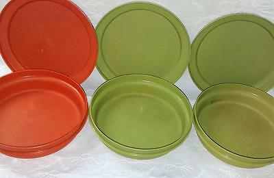3 Vintage Tupperware Bowls And Plate / Lids (Store And Serve) Great For Picnics
