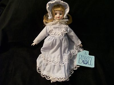 """Vintage Bisque Girl Doll in Light Blue Victorian Costume 7 1/2""""-Dynasty Doll"""