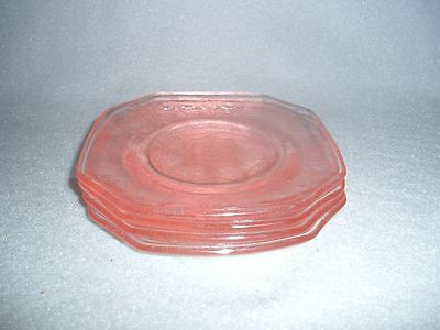 4 Mosser Glass Pink Jennifer or Cameo Miniature Children's Sq. Plates Free Ship