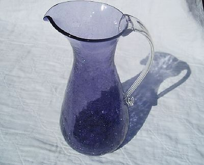 Vintage Amethyst Pilgrim Crackle Glass Tall Water Pitcher Free U.S. Shipping