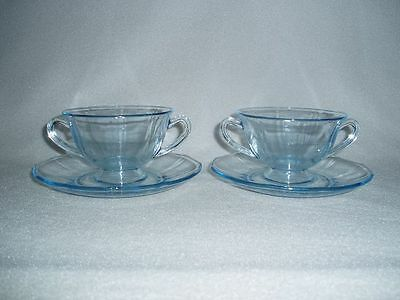 Fostoria Fairfax Azure Blue Footed Bouillon Soup Cups and Saucers Set of 2