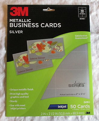 3M # D418-I Metallic Silver Inkjet Business Cards (50)