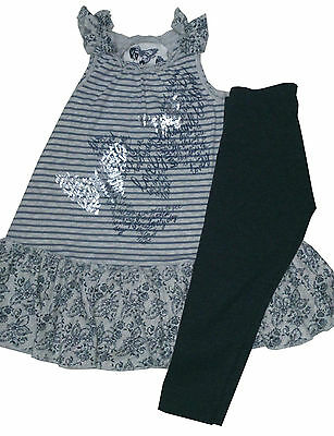 BNWT Next Girls' Striped Butterfly Grey Tunic with Leggings 4 Year 4-5 Years