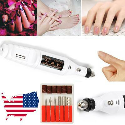 Acrylic Nail Art Drill KIT Electric FILE Buffer Bits Portable Salon Machine US