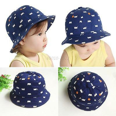 Baby Girls Boys Crown Print Infant Bucket Hat Summer Outdoor Sun Beach Hat
