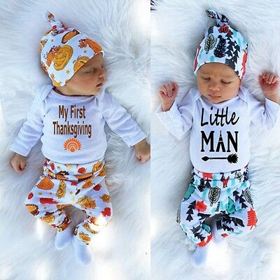 3pcs/set Newborn Baby Girls Boy Tops Romper +Long Pants Hat Outfits Clothes Hot