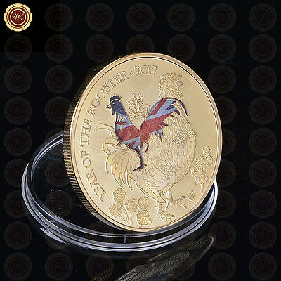 WR Gift Elizabeth II  Gold Rooster Chook Commomerative Gold Coin Collection