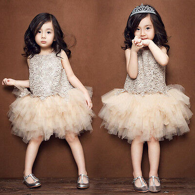 Baby Kids Girl Flower Princess Pageant Wedding Party Flower Tulle Tutu Dress Hot