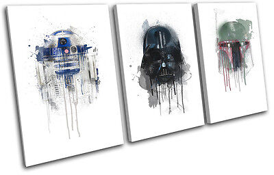 Star Wars Retro Paint Movie Greats TREBLE CANVAS WALL ART Picture Print