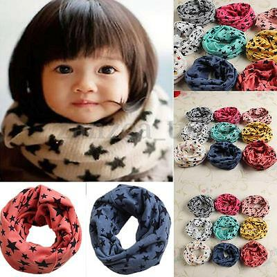 New Xmas Kids Girls Boy Toddler Star Scarf Winter Warm Print Fit For Aged 6M-3Y