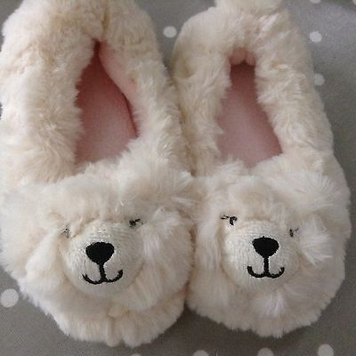 Acessorise Little Angels Polar Bear Furry Lined Childs Slippers Uk 8