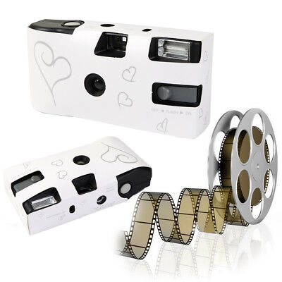 10X Love Hearts Disposable 27exp Wedding Bridal Camera With Flash And Table Card