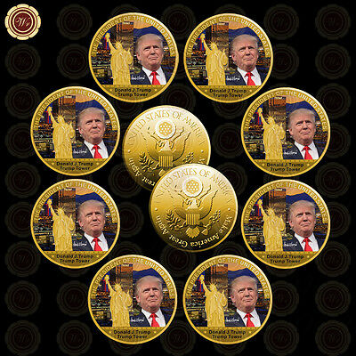 WR 10PCS Coin Sets US President Donald Trump Tower 24K Gold Challenge Coin Gift