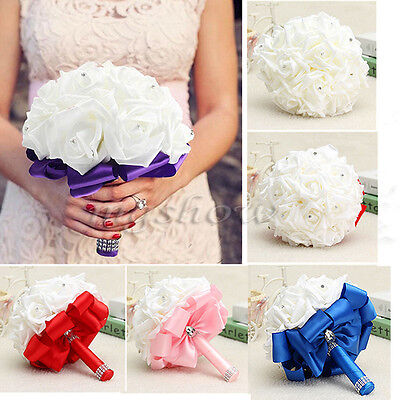 Bridal Colourfast Flower Bouquet Foam Roses Artificial Silk Wedding Party Decor