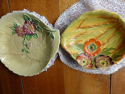 Carltonware 2 Art Deco Dishes With Hand Painted Pansies.