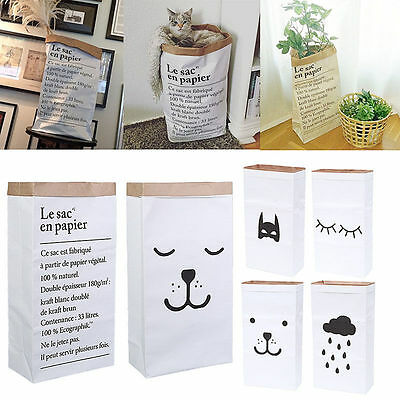 Hot Heavy Kraft Paper Storage Bags Laundry Bag Toys Clothes Organizer Home