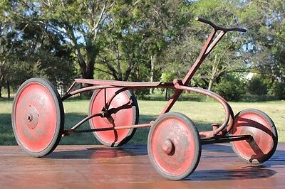 Rare Antique Cast Iron Wrought Push Pull Pedal Car Kids Toy Ride Along
