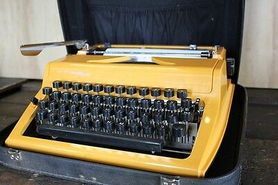 Rare Vintage Berlin Made Canary Yellow Typewriter GDR Portable