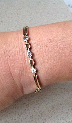 solid 9ct gold bracelet with small stones
